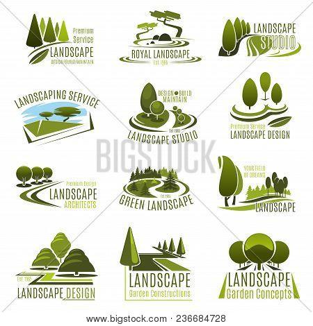 Landscape Design Studio Icon Set. Landscaping And Gardening Service Company Emblem With Summer Park