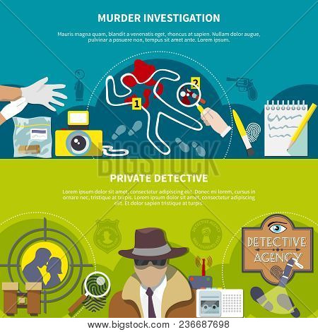 Detective Horizontal Colored Banner Set With Murder Investigation And Private Detective Descriptions