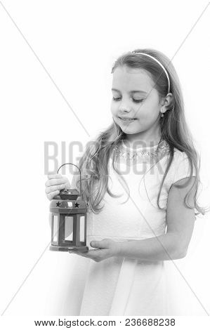 Child With Red Xmas Lantern. Girl Smile With Long Blond Hair Isolated On White. Christmas, New Year,