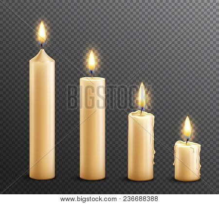 Burning Wax Candles Realistic Set Of 4 Arranged From Tall To Law On Dark Transparent Background Vect