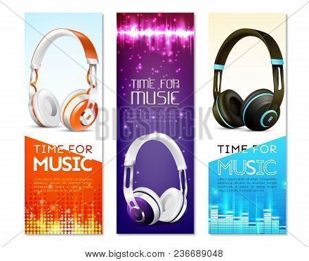 Set Of Vertical Banners With Realistic Earphones With Headband, Sound Wave, Digital Equalizer, Spark