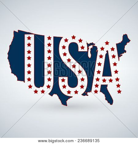 Us Logo Or Icon With Usa Letters Across The Map And 50 Stars, United States Of America. Vector Illus