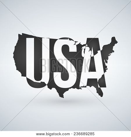 Us Logo Or Icon With Usa Letters Across The Map, United States Of America. Vector Illustration Isola