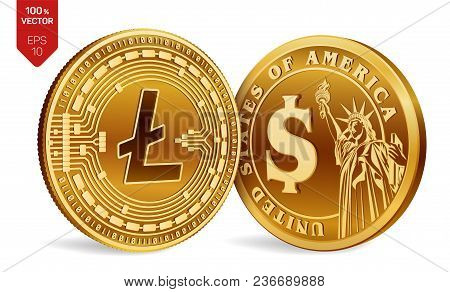 Litecoin. Dollar Coin. 3d Isometric Physical Coins. Digital Currency. Cryptocurrency. Golden Coins W