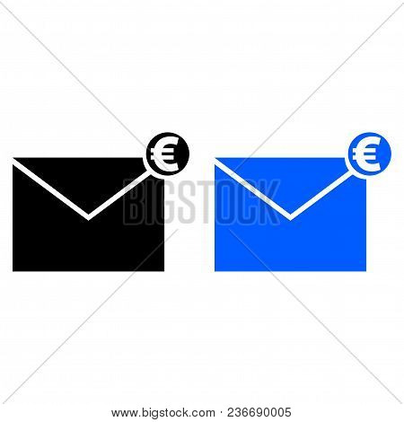 Envelope With Money Icon. Vector Illustration. Glyph Style