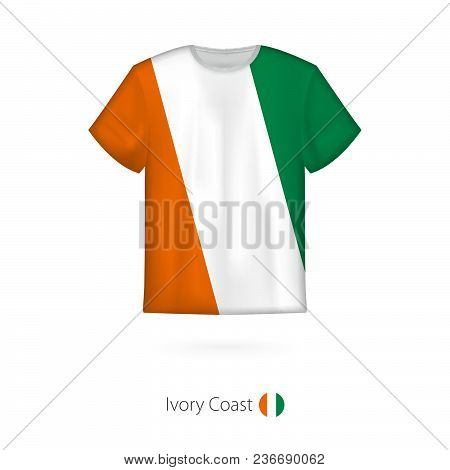 T-shirt Design With Flag Of Ivory Coast. T-shirt Vector Template.