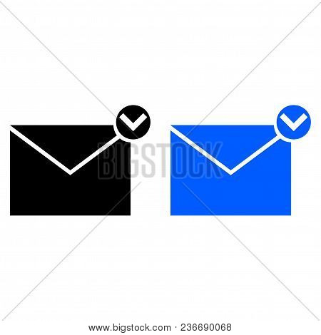 Message With A Tick. Vector Illustration. Glyph Style
