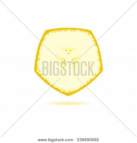 Ripe Banana Cut Illustration. Plantain Piece Isolated On Background