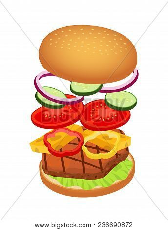 Vector 3d Realistic Illustration Of Hamburger With Ingredients. Burger Bread, Meat, Beef, Cheese, To
