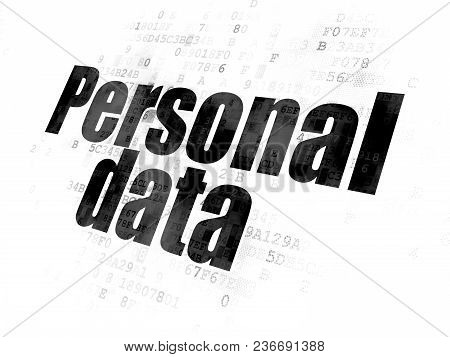 Information Concept: Pixelated Black Text Personal Data On Digital Background