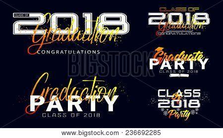 Set. Graduation Label. Vector Text For Graduation Design, Congratulation Event, Party, High School O