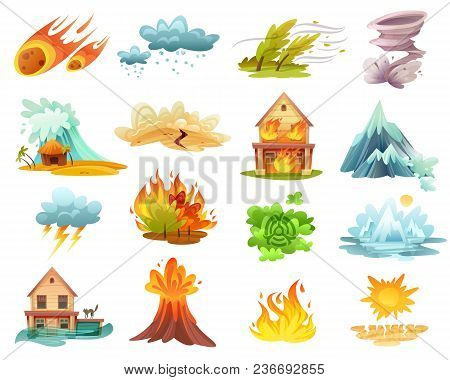 Natural Disasters Cartoon Set Of  Icons With Fires, Tsunami, Flood, Volcano Eruption, Ice Melting Is