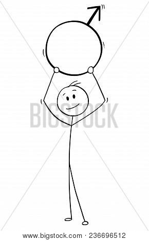 Cartoon Stick Man Drawing Conceptual Illustration Of Man Holding Male Sex Symbol. Concept Of Homosex