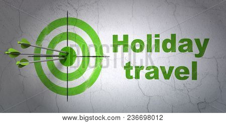 Success Vacation Concept: Arrows Hitting The Center Of Target, Green Holiday Travel On Wall Backgrou
