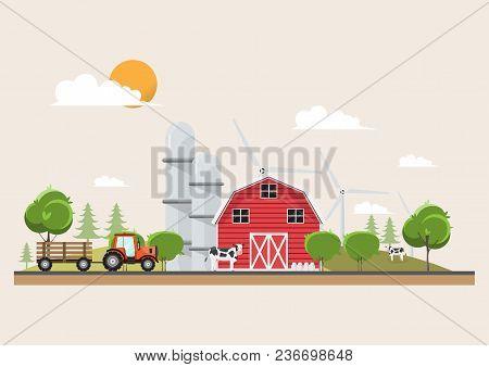 Agriculture And Farming In Rural Landscape Scene Design. Natural And Organic Dairy Farm. Vector Illu