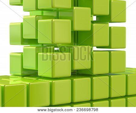 Green Abstract Cubes Block Array 3d Render