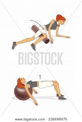 Exercises. Red-haired Girl Trains The Muscles Of The Abdominal And Buttocks With The Use Of Fitball