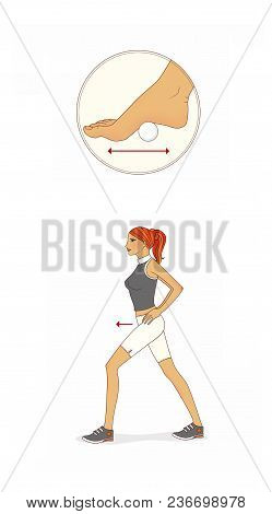 Exercises. Red-haired Girl Trains The Muscles Of The Abdominal And Buttocks. Massage Of Foot Arch Wi