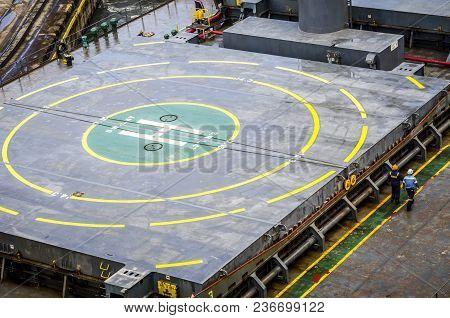 Helipad Area On Stern Of Oil Tanker Ship
