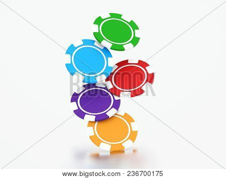 3d Illustration Group Of Different Colors Casino Chips On A Gray Background