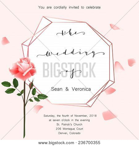 Save The Date Card, Wedding Invitation, Greeting Card With Beautiful Roses Flowers And Letters The W