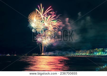Fireworks Display On New Year Eve At Glenelg Beach From Jetty, South Australia