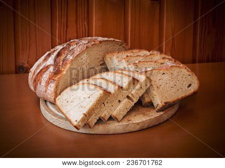Sliced Rye Bread On Wooden Table. Selective Focus.