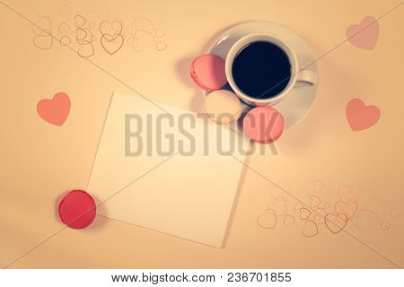 Coffee Cup With Macaroons And Blank Card With Space For Your Text. Vintage Style.