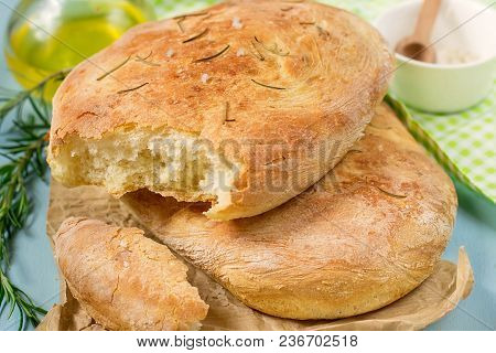 Homemade Bread Focaccia Of Potato Dough With Sea Salt And Rosemary
