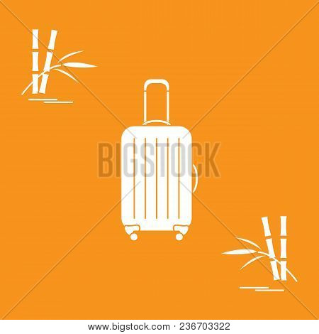 Vector Illustration Of Suitcase For Travel And Bamboo. Summer Time, Vacation. Design For Banner, Pos