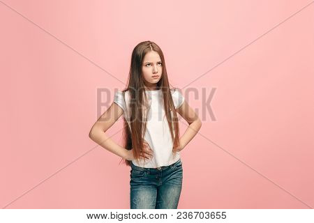 Doubt Concept. Doubtful, Thoughtful Teen Girl Remembering Something. Human Emotions, Facial Expressi