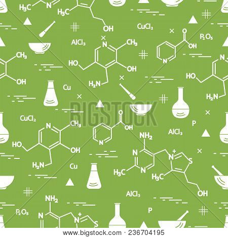 Seamless Pattern With Variety Scientific, Education Elements: Flask, Formula, Pestle And Other. Desi