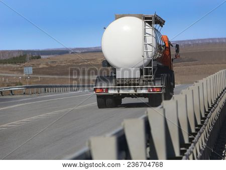 Fuel Tanker Track Moves On Highway Photo