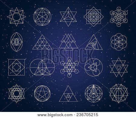 Sacred Geometry Outline Shapes Vector Symbol Set