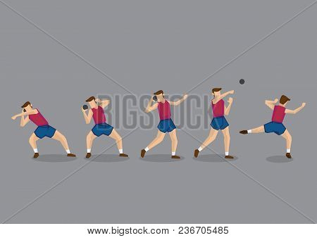 Cartoon Character Of Shot Putter Throwing Iron Ball. Series Of Vector Illustration For Track And Fie