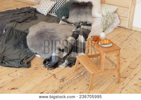 Morning Breakfast On Wooden Tray Near Bed.