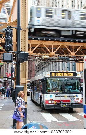 Chicago, Usa - June 26, 2013: People Ride City Bus In Chicago. Chicago Is The 3rd Most Populous Us C