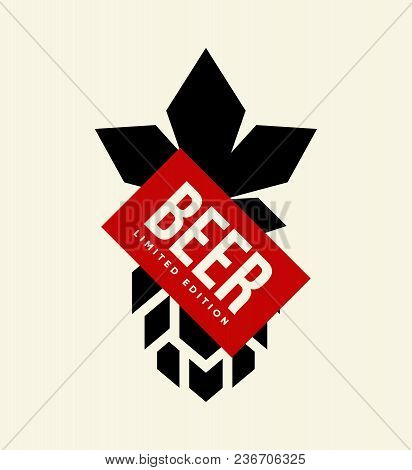 Modern Craft Beer Drink Vector Logo Sign For Bar, Pub Or Tavern, Isolated On Light Background. Premi