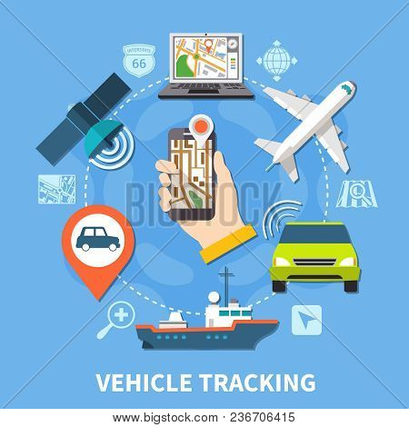 Navigation Round Composition Of Isolated Silhouette Pictograms And Colourful Icons Of Vehicles Maps