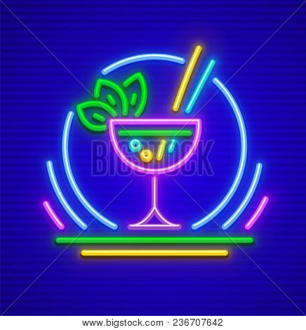 Neon Sign. Cocktail In Glass With Mint Leaves. Mojito Bar Icon Made Of Neon Lamps With Highlight. Ep
