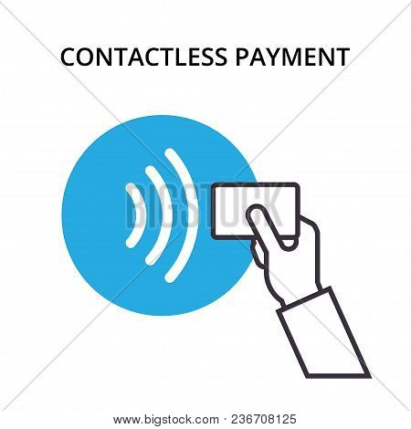 Pos Terminal Confirms Contactless Payment From Credit Card. Nfc Vector Outline Icon. Near-field Comm