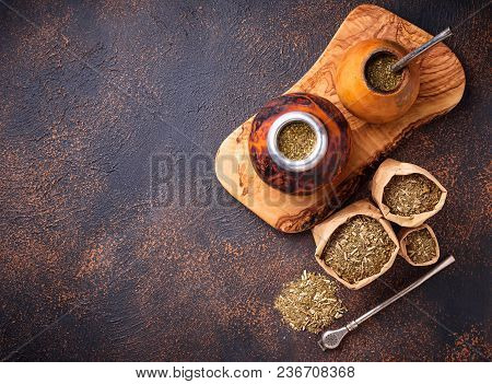 Yerba Mate Tea With Calabash And Bombilla. Traditional Argentinian Drink