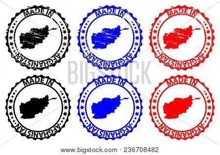 Made In Afghanistan  - Rubber Stamp - Vector, Afghanistan Map Pattern - Black, Blue And Red