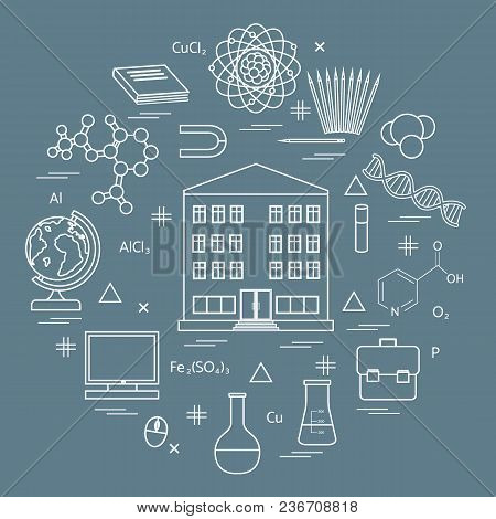 Vector Illustration Of Variety Scientific, Education Elements In A Circle. Including Icons Of School