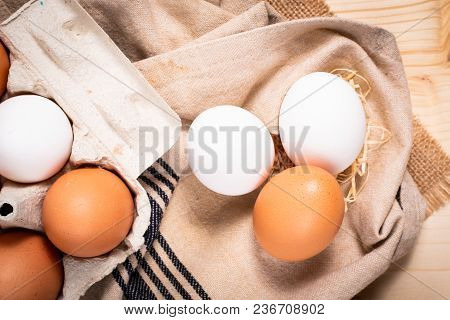 Healthy Food Concept Farm Fresh Organic White Eggs And Eggs Paperboard Cartons