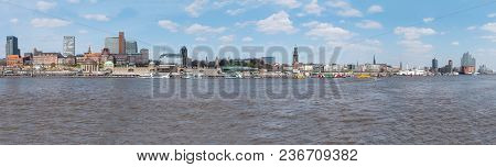Hamburg Horbor Waterfront Cityscape With Elbe River And St. Pauli Piers On Sunny Day