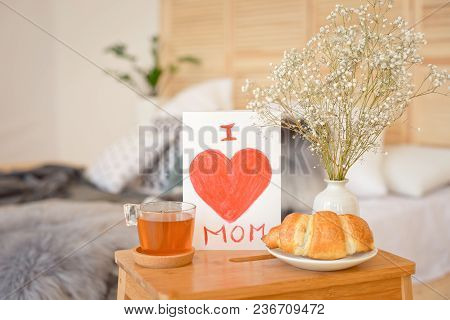 Mother's Morning Breakfast On Wooden Tray.