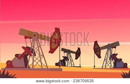Oil Production Composition With Evening Dessert Scenery And Images Of Sucker-rod Pumping Units Extra
