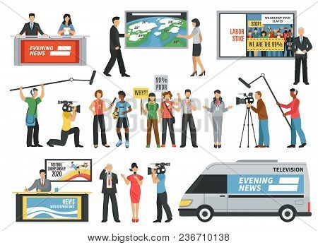 Set Of Icons With Journalists During Live Report, Tv News, Interview, Weather Forecast Isolated Vect
