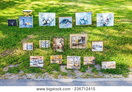 Veliky Novgorod, Russia - August 17, 2017: Art Paintings With Flowers And Traditional Russian Motive